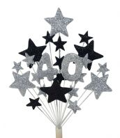 Number age 40th birthday cake topper decoration in silver and black - free postage